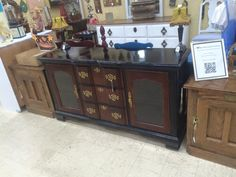 Refinished Black Cherry Entertainment Center or Buffet or Side Board