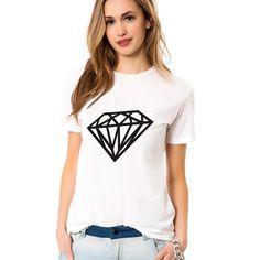 <font><font>Diamantes de impressão t-shirt novo 2014 mulheres de algodão em branco t-fashion tops para as mulheres</font></font> $<font><font>6.95</font></font>