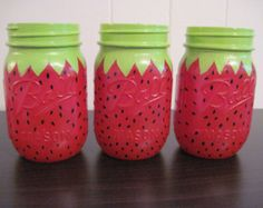 Set of 3 Mason Jar Centerpieces,Strawberry,Painted Mason Jars, Birthday Party Decorations,Strawberry Birthday Party,Kid's Party,Summer Party