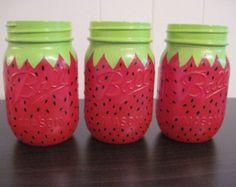 Set of 3 Mason Jar Centerpieces,Strawberry,Painted Mason Jars, Birthday Party Decorations,Strawberry Birthday Party,Kid's Party,Summer Party