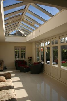 Incredible view into the garden via bifold doors. Lots of light through roof lantern and double bifolding doors Barn Windows, Ceiling Windows, Glass Ceiling, Ceilings, Conservatory Dining Room, Roof Lantern, Roof Light, Room Planning, House Extensions