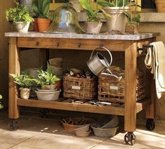 Potting bench - hooks on the front, pewter top!