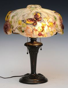 226a9d797559 Pairpoint Puffy Table Lamp with Flowers and Butterflies