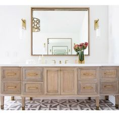 Vanity was custom made of rift sawn white oak. We bleached the wood, gave it a light custom stain and lime white finish.