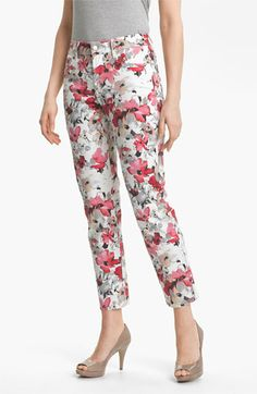 floral ankle jeans