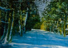 "road thru cedars  (9) 16"" x 22""  micheal zarowsky / watercolour on arches paper (private collection)"