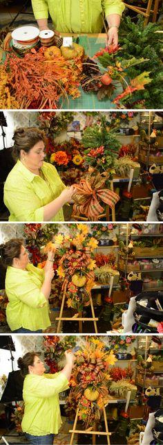 How to make a fall teardrop swag by Southern Charm Wreaths Wreath Crafts, Diy Wreath, Wreath Making, Diy Garland, Wreath Ideas, Deco Mesh Wreaths, Holiday Wreaths, Halloween Wreaths, Burlap Wreaths