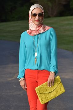 Color block - red pants - summer outfit