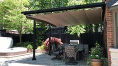 Backyard Shade, Pergola Shade, Deck Shade, Pergola Retractable Shade, Black Pergola, Retractable Canopy, Rooftop Terrace Design, Back Garden Design, Backyard Patio Designs