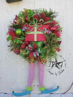 Elf Christmas Deco Mesh Wreath by DesignsbyJordanTX on Etsy, $155.00