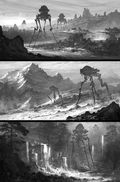 Feng Zhu Mech character design robotic robot metal scene scenery deserted landscape matte painting