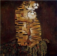 "Maurizio A. C. Quarello; I guess this is Klimt's ""The Kiss"" for tigers?!"