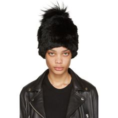 Yves Salomon Black Knit Fur Beanie ($145) ❤ liked on Polyvore featuring accessories, hats, black, knit beanie hats, knit beanie caps, beanie hat, pompom hat and fur beanie