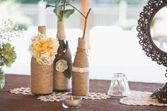 Empty Glass Bottles Fill In As Gorgeous Wedding Centerpieces Homemade Home Decor, Diy Crafts For Home Decor, Diy Crafts To Sell, Handmade Crafts, Outdoor Wedding Centerpieces, Do It Yourself Decoration, Empty Glass Bottles, Wine Bottles, Wine Bottle Centerpieces