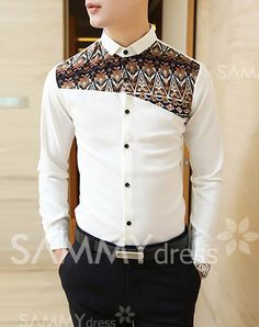 $15.24 Stylish Ethnic Patch Splicing Shirt Collar Long Sleeve Slimming Polyester Shirt For Men