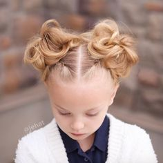 jehat hair — I absolutely love pigtail buns on little girls! B...