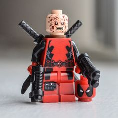 Deadpool (Marvel Comics) custom LEGO-style minifigure toy / rebuildable action figure / mini-figurine - Visit to grab an amazing super hero shirt now on sale! Lego Spiderman, Lego Marvel, Marvel Comics, Lego Deadpool, Deadpool Stuff, Marvel Dc, Lego Figures, Action Figures, Vinyl Figures