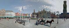 Markt, Belfort e fonte em Bruges.