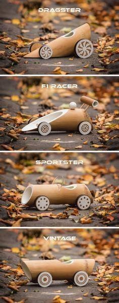 These New Eco-Friendly Bamboo Toy Cars Are Fully Biodegradable Australian based designers Made of Bamboo, have designed a collection of eco-friendly bamboo toy cars that come in four designs.