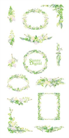 Check out this item in my Etsy shop https://www.etsy.com/listing/504652086/green-herbs-clipart-frame-bouquet-wreath
