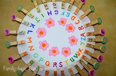 "Alphabet match on a paper plate from Family days. Tried & tested. ("",)"