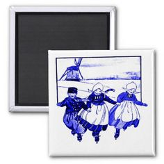 Delft Style,Blue Ducth Kids On Skates Fridge Magnets