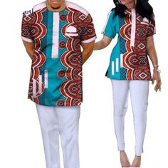 Bazin Riche African Couples Clothing Dashiki Print Patchwork Top-Pants Sets For African Shirts For Men, African Attire For Men, African Wear, African Shirts Designs, Nigerian Men Fashion, African Men Fashion, Latest African Fashion Dresses, Baby African Clothes, African Clothing For Men