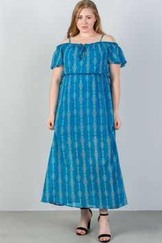 14ffe5f3ca6 Ladies Plus Size Cold Shoulder Maxi Dress Blue  fashion  clothing  shoes   accessories