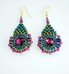 Green pink earrings