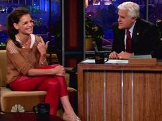 Katie Holmes appears on NBC's 'The Tonight Show With Jay Leno' where she talks about some of her favorite fashions and how she cannot wear the color yellow on August 2, 2011