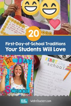 The first day of school is often filled with jitters. These first-day-of-school traditions will help your new students feel a little more at ease. First Day Of School Activities, 1st Day Of School, Beginning Of The School Year, Hands On Activities, Classroom Activities, Classroom Ideas, Classroom Organization, Classroom Management, First Day Jitters