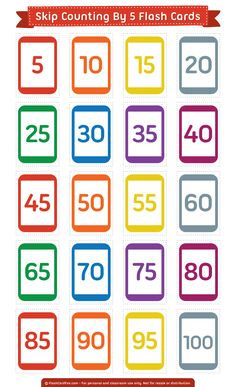 Free Printable Skip Counting by 10 Flash Cards Math Flash Cards, Vocabulary Flash Cards, Task Cards, Vocabulary Activities, Free Printable Flash Cards, Printable Numbers, Skip Counting By 5, Math Patterns, Flashcards For Kids