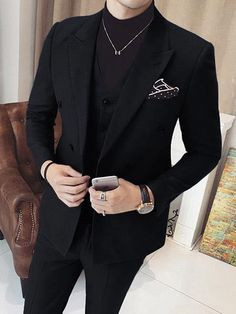 Glamorous and stylish double breasted black 3 piece suit for men. Glamorous and stylish double breasted black 3 piece suit for men. Glamorous and stylish double breasted black 3 piece suit for men. Prom Suits For Men, Prom Styles For Men, Suit Styles For Men, Black Prom Suits, Guys Suits, Nice Suits, Groom Suits, Groom Attire, Black Suit Men