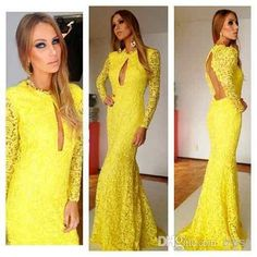 Discount Vestidos Largos Amarillos 2014 Yellow Sexy Lace Evening Gown Split Crew Long Sleeve Mermaid Sweep Train Backless Prom Dresses Formal Dress Online with $94.25/Piece | DHgate