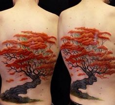 Full Back Orange Autumn Piece. This beautiful piece of tree tattoo with vibrant orange leaves clearly depicts that it is an oak tree in autumn season. The oak has always been considered to be the symbol of wisdom and nobility.