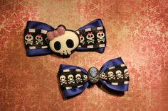 Skulls Hair Bows  Blue by RiotGearHairBows on Etsy, $10.00