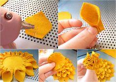 Felt Flowers cut some templates and grab a glue gun. Looks fairly simple.