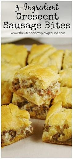 Crescent Sausage Bites ~ hot sausage (pork or turkey), cream cheese, & crescent rolls. Just tasted these, I used the hot sausage and they are tasty but very doughy. Might be too much dough to filling ratio. Would give them a 3 out of 5 stars. Breakfast And Brunch, Breakfast Dishes, Breakfast Recipes, Perfect Breakfast, Breakfast Bake, Sausage Breakfast, Breakfast Ideas, Breakfast Appetizers, Cresent Roll Breakfast Casserole