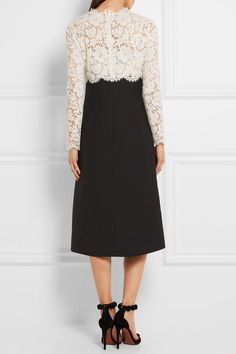 White cotton-blend lace, black wool and silk-blend crepe Concealed hook and zip fastening at back  Fabric1: 71% cotton, 21% viscose, 8% polyamide; fabric2: 65% wool, 35% silk; underlay: 100% polyamide; lining1: 100% silk; lining2: 91% silk, 9% elastane  Dry clean  Made in Italy  Large to size. See Size & Fit notes.