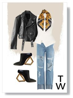 """""""Leatherette"""" by styledbytakhirah ❤ liked on Polyvore featuring Jean-Paul Gaultier, SJYP, Roland Mouret and Versace"""