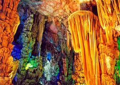 Reed Flute Cave China.  Reed Flute Cave is a zigzagging sea of stalactites and stalagmites in dazzling colors. Located in the northwest of Guilin, the Reed Flute Cave is one of the most extraordinary sceneries in Guilin.