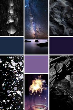 Midweek Moodboard: Midnight Galaxy A beautiful combination of dark space-themed colours for your design inspiration! Parfum Alien, Pantone, Collages, Brand Archetypes, Galaxy Theme, Mood And Tone, Color Collage, Wedding Mood Board, Dark Winter