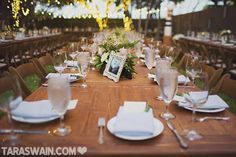 Fort Worth wedding venue | Artspace111 | Garden table settings #Artspace111 #garden #reception #treelights #tablesetting #floral #modern #wedding #downtwon #fortworth