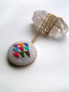 Golden Triangle Cross Stitched Pendant Necklace/etsy