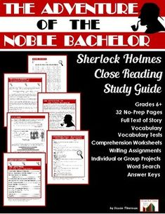 """The Adventure of the Noble Bachelor""--Sherlock Holmes Close Reading Study Guide is ready so your students can enjoy a trip to Holmes's flat at Baker Street, London. Here's what you'll find in your reproducible guide: Reading Resources, Teaching Reading, Teacher Resources, Learning Piano, Secondary Resources, Teaching Ideas, Reading Comprehension, Comprehension Questions, Middle School Ela"