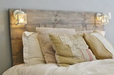 Wood Headboard with White Built in Lighting-Cordoba. Diy Wooden Headboard With Lights Rustic Wood Headboard, White Headboard, Twin Headboard, Distressed Headboard, Shiplap Headboard, Rustic Headboards, Bed Headboards, Rustic Bed, Industrial Headboards