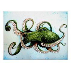 """""""Green Octopus"""" Digital Art by Danny Silva posters, art prints, canvas prints, greeting cards or gallery prints. Find more Digital Art art prints and posters in the ARTFLAKES shop. Octopus Drawing, Octopus Tattoo Design, Octopus Tattoos, Octopus Artwork, Dolphin Drawing, Ocean Drawing, Octopus Painting, Kraken, Octopus Squid"""