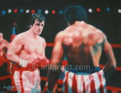 "ORIGINAL Sylvester Stallone Rocky Creed oil painting 8.5""x11"" Bill Pruitt #RockyBalboaArt #RockyCreed"