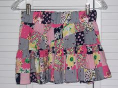 Lilly Pulitzer Skirt XS extra small Patchwork Swing Flirty Blue Pink Yellow  #LillyPulitzer #Tiered