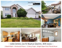 9180 Jewel Ln N Maple Grove, MN. 3 Bed/3 Bath- 2 Story w/inviting floor plan. Great home for entertaining! Premium quality finishes thru-out. Granite counter tops, stainless steel appliances & large walk-in pantry. beautifully finished main level laundry room. Hardwood floors. Walk out basement. 3 tier raised garden. New roof in 2013 and more! Contact us today for a private showing!
